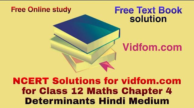 NCERT Solutions for vidfom.com for Class 12 Maths Chapter 4 Determinants Hindi Medium