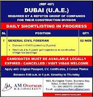 General Civil Foreman Job Vacancy for Dubai