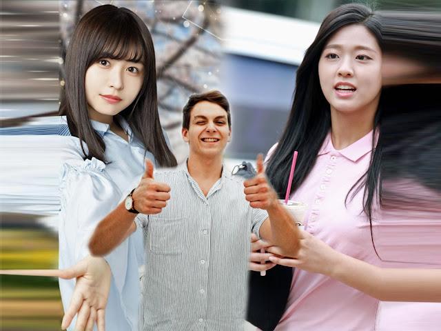 Японка (слева) и кореянка (справа) ожидают, пока европеец определится с выбором [фотоколлаж]
