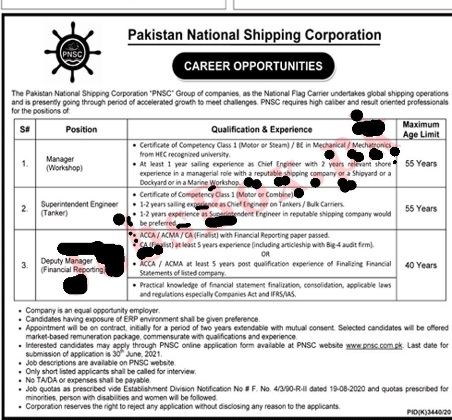 Latest Pakistan National Shipping Corporation Jobs 2021