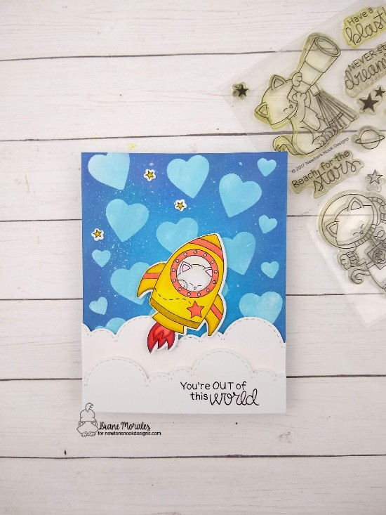 You're out of this world by Diane features Cosmic Newton, Sky Borders, and Darling Hearts by Newton's Nook Designs; #newtonsnook