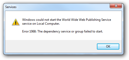 WEBLOGON: Error 1068: the dependency service or group failed to start
