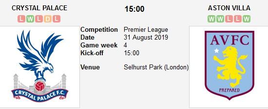 مشاهدة مباراة كريستال بالاس واستون فيلا بث مباشر بتاريخ 31-08-2019 الدوري الانجليزي