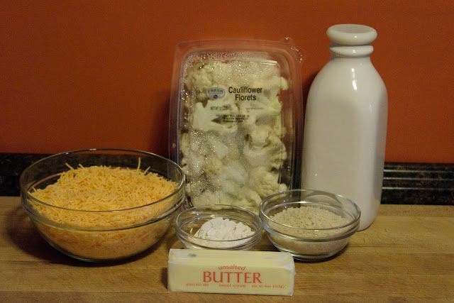The ingredients needed for the Cauliflower Gratin