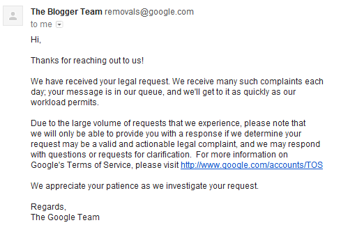 google blogger dmca