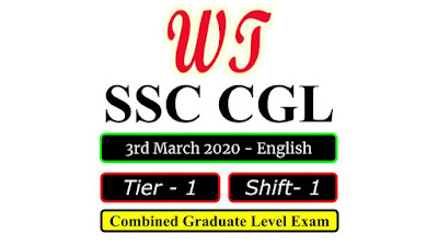 SSC CGL 2019 Tier 1 Shift 1 Question Paper 3 March 2020 In English