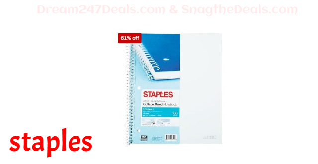 """Staples® Accel, Durable Poly Cover 1 Subject Notebook, College Ruled, 8-1/2"""" x 11"""", White (25539M)"""