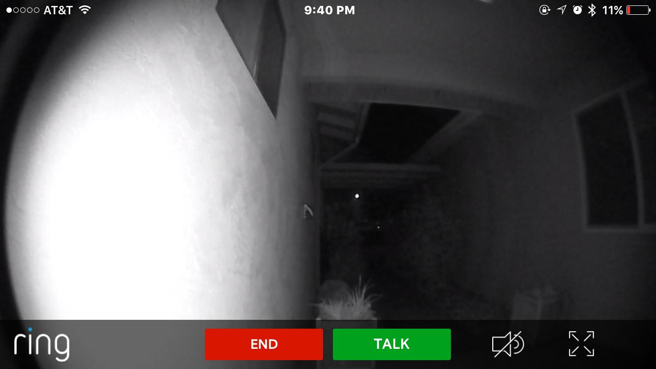 Ring Video Doorbell at Night