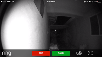 image of ring doorbell camera view at night