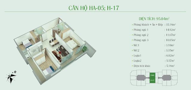 Thiết kế căn hộ 3 ngủ: diện tích 95,04m2