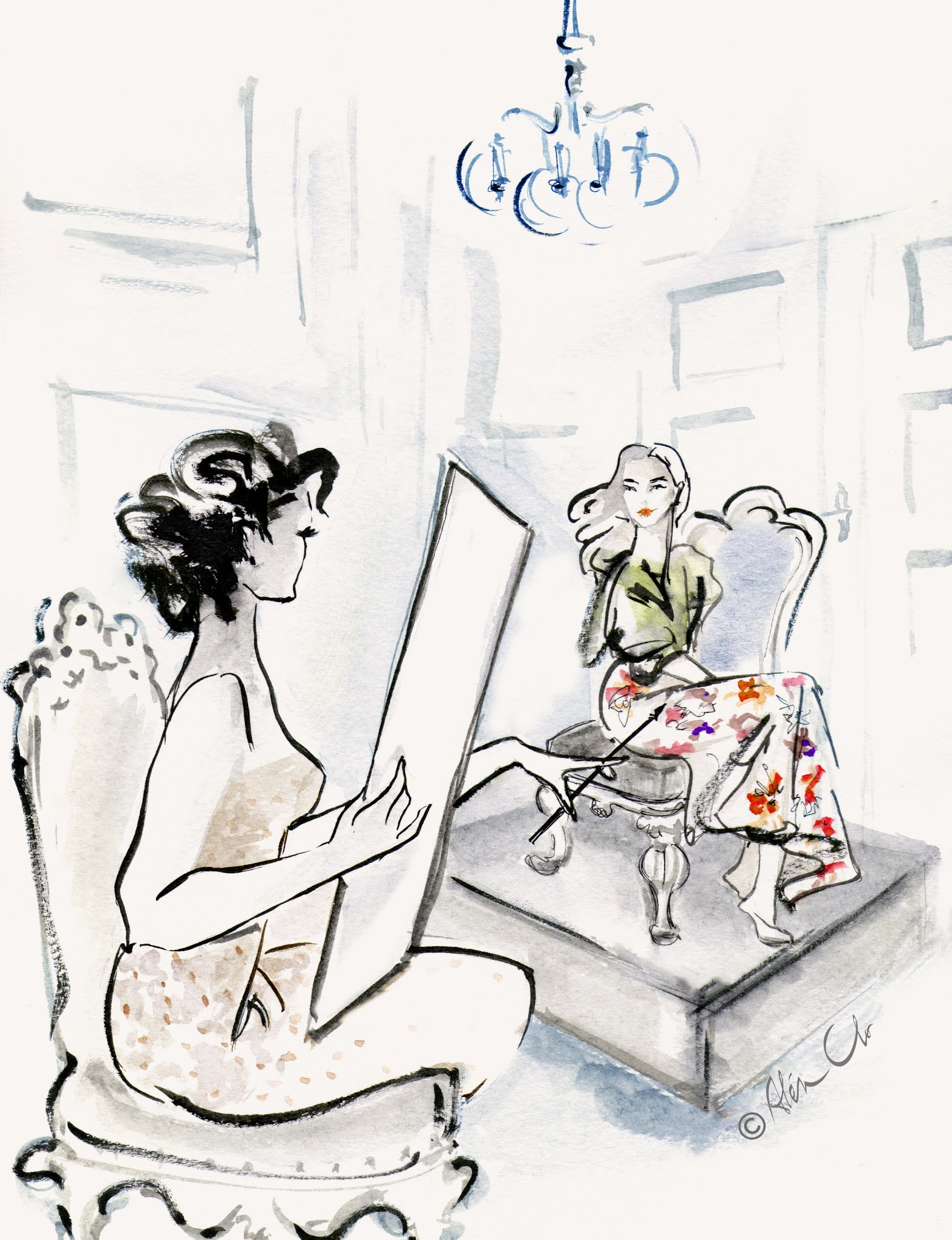 Female-artist-at-work-with-muse