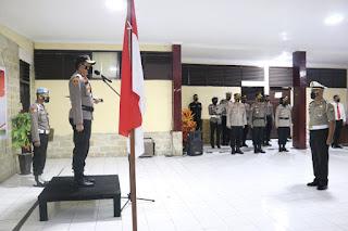 Kapolres AKBP Kadarislam Pimpin Upacara Korps Raport Kenaikan Pangkat Pengabdian