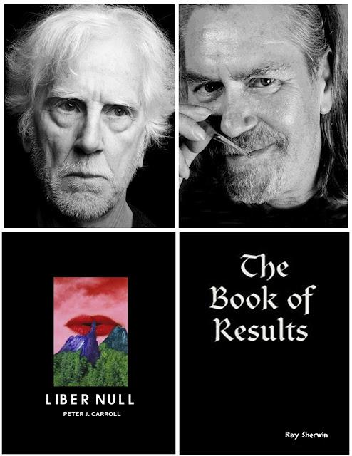 Ilustração de Peter Carroll à esquerda e Ray Sherwin à direita, no canto inferior esquerdo o livro Liber Null, no canto inferior direito a obra The Book of Results.