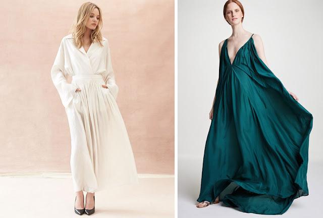 Летящая белая юбка макси и зеленое длинное платье