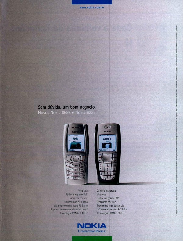Propaganda da Nokia promovendo os celulares 6585 e 6225 no ano 2004