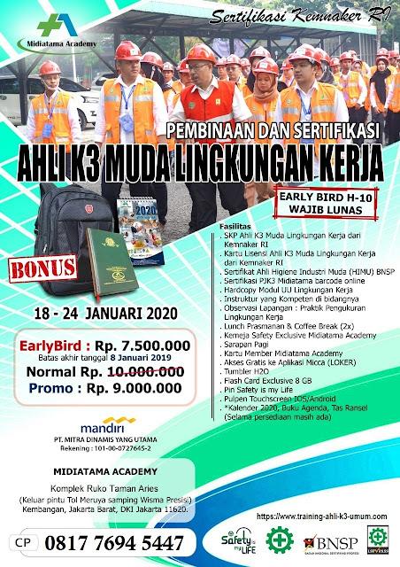 Ahli K3 Muda Lingkungan Kerja tgl. 18-24 Januari 2020 di Jakarta