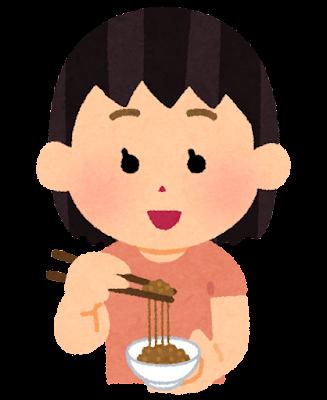 納豆を食べる人のイラスト(女の子)