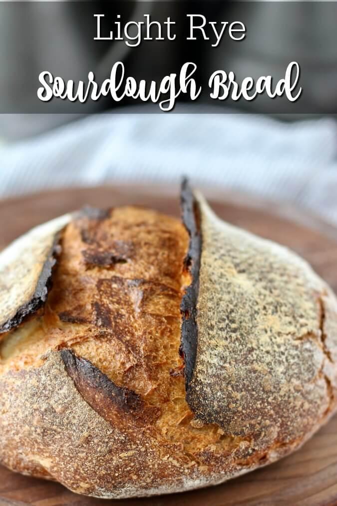 Crusty light rye sourdough bread