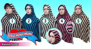 Grosir jilbab monochrome murah model belah samping
