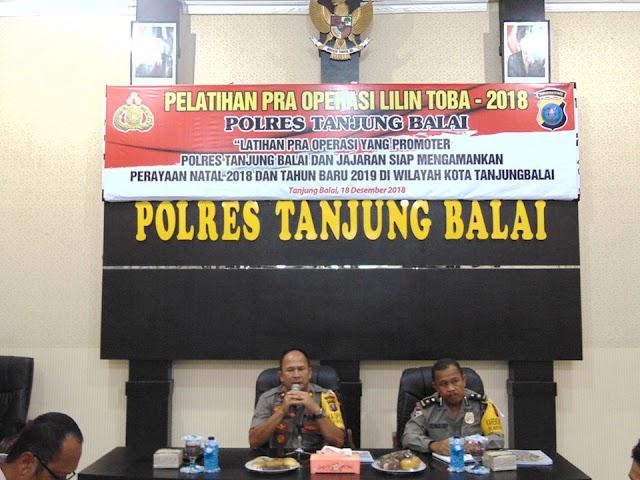 Latihan Pra Oprasi Lilin Toba Polres Tanjung Balai Dalam Rangka Pengamanan Natal 2018 dan Tahun Baru 2019