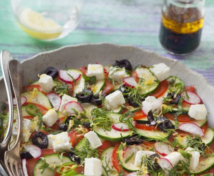 Carpaccio of courgettes, tomatoes and feta cheese