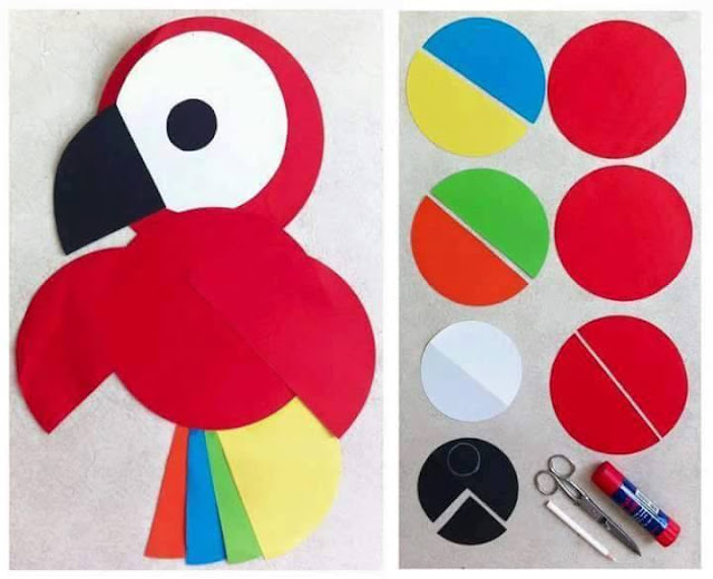 Idea to make something from paper for kids : parrot