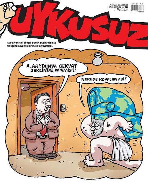 dünya düzdür karikatür