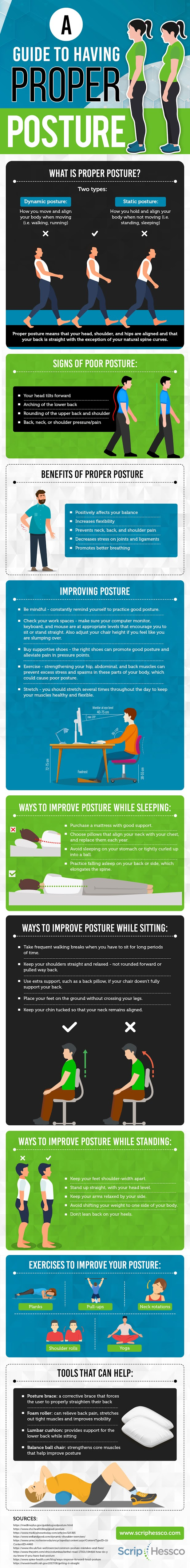 A Guide to Having Proper Posture #infographic #Health