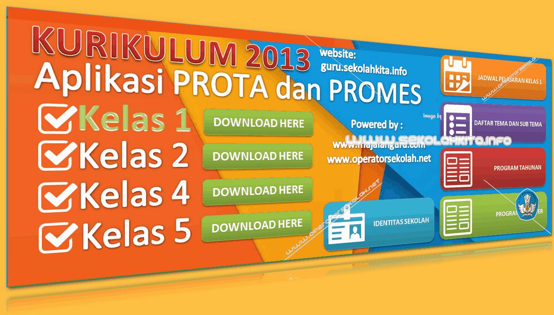 Aplikasi Prota dan Promes Kurikulum 2013 SD Kelas 1 Dilengkapi Jadwal Pelajaran serta Daftar Tema Subtema