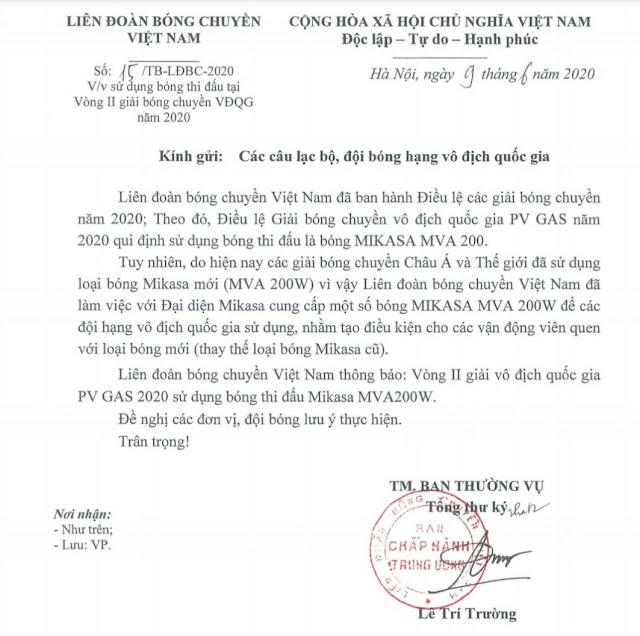LĐBCVN thông báo sử dụng bóng Mikasa MVA200W ở Vòng 2 giải VĐQG 2020