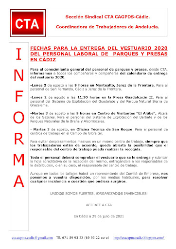 FECHAS PARA LA ENTREGA DEL VESTUARIO 2020 DEL PERSONAL LABORAL DE PARQUES Y PRESAS EN CÁDIZ