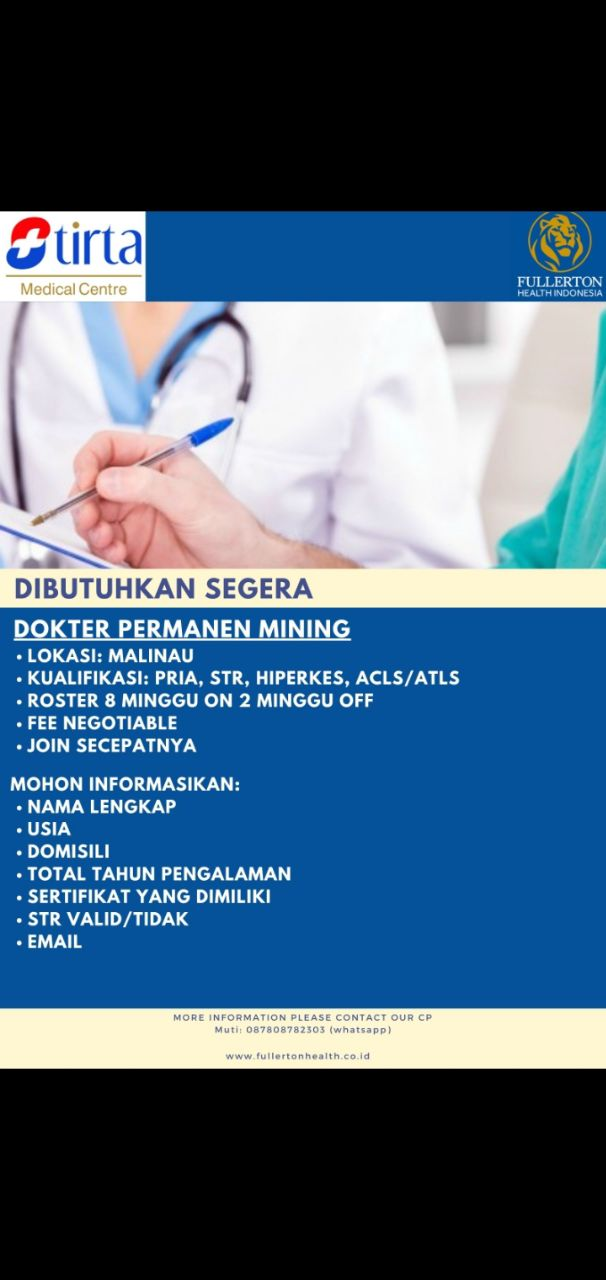 Loker Dokter Permanen Mining Lokasi Malinau