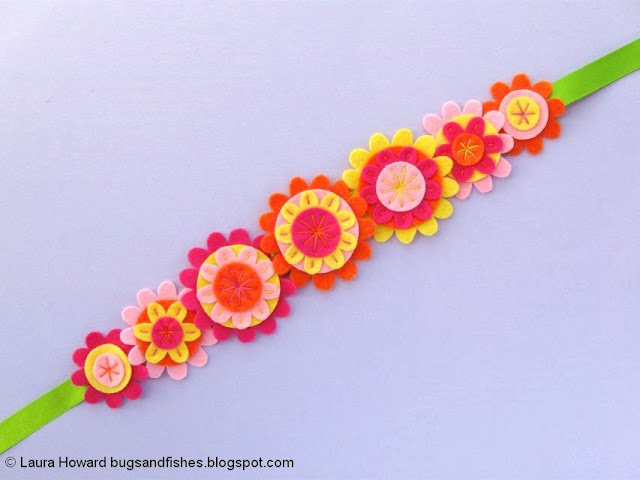 Felt Flower Crown Sewing Tutorial: add the flowers to some ribbon