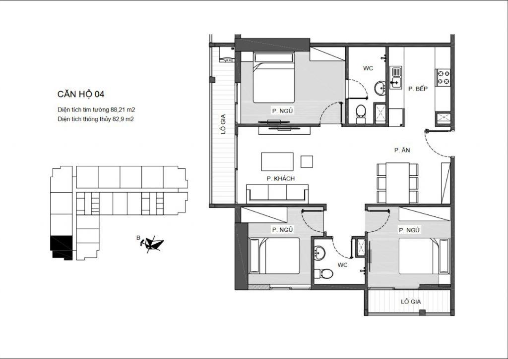 Mã căn 04 - Thiết kế căn hộ An Bình Plaza