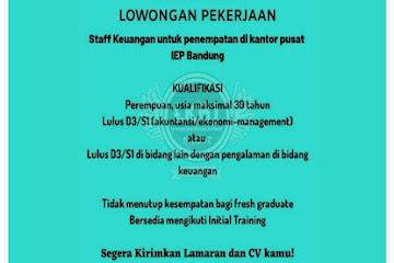 Lowongan Kerja Bandung Staff Keuangan IEP Bandung