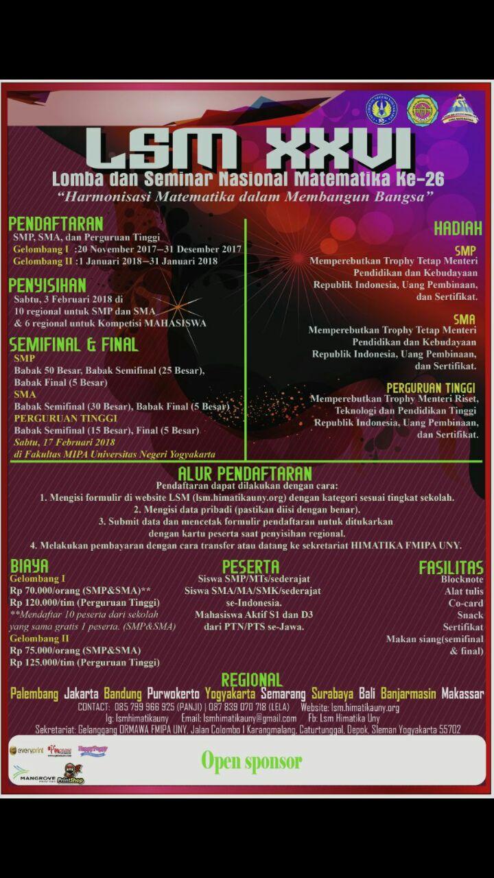 Lomba dan Seminar Matematika (LSM) XXVI Untuk SMP SMA Mahasiswa