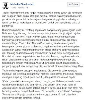 Viral! Status FB Michelle Dian Lestari Yg Jenguk Ahok di Mako Brimob. Bacanya Buat Ribuan  Netizen Menangis Haru!