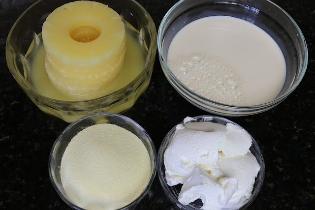 Ingredientes para postre de piña