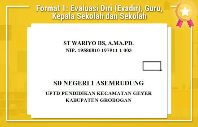 Format 1: Evaluasi Diri (Evadir), Guru, Kepala Sekolah dan Sekolah