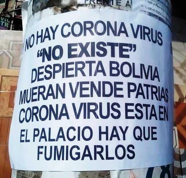 Fiscalía investiga de oficio la distribución de afiches en El Alto con desinformación sobre el coronavirus