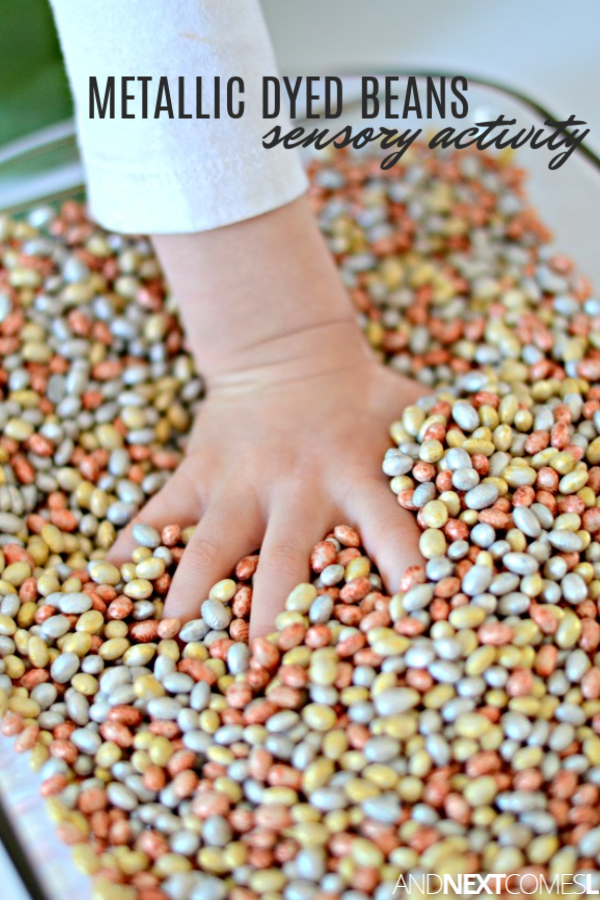 How to dye beans for sensory play in metallic colors