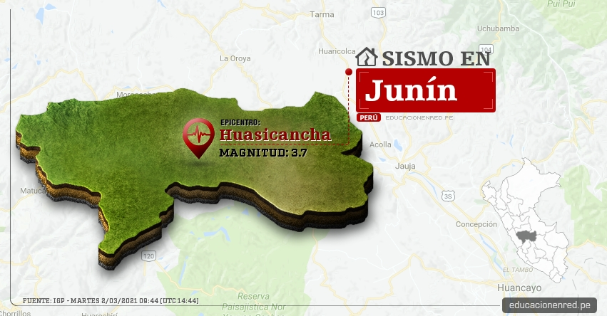 Temblor en Junín de Magnitud 3.7 (Hoy Martes 2 Marzo 2021) Sismo - Epicentro - Huasicancha - Huancayo - IGP - www.igp.gob.pe