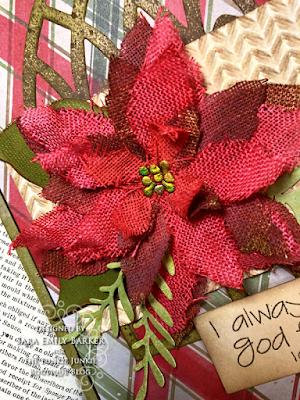Sara Emily Barker https://sarascloset1.blogspot.com/2020/11/i-always-thank-god-for-you.html #timholtz #sizzix #catherdralwindow #knitted3Dembossing #elegant poinsettia Mixed Media Card 2