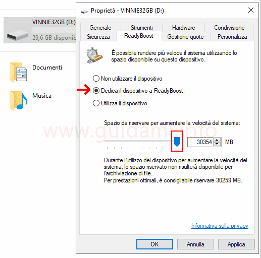 Windows 10 finestra opzioni ReadyBoost Dedica il dispositivo a ReadyBoost