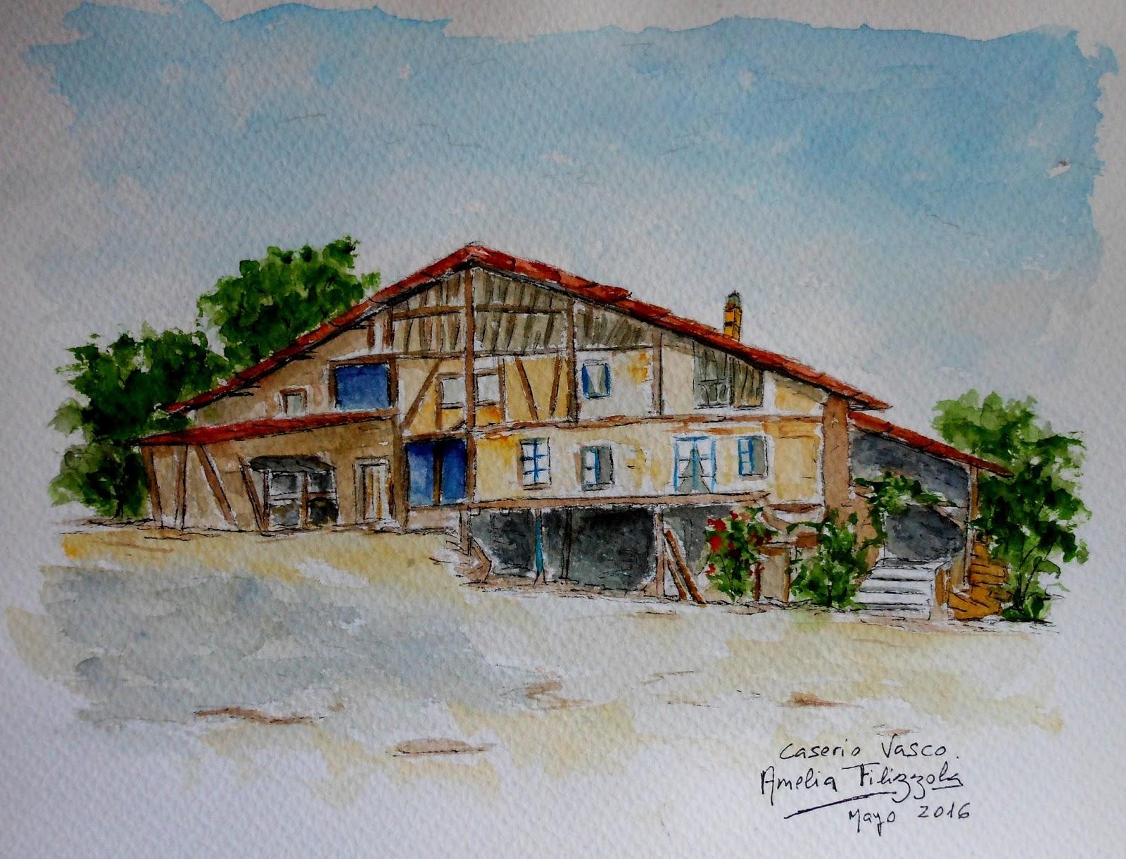 Amelia filizzola dibujos caserio vasco en guipuzcoa - Caserios pais vasco ...