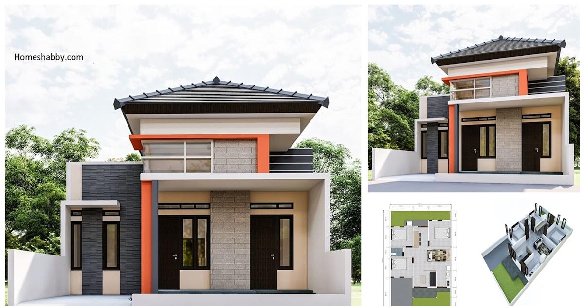 Desain Dan Denah Rumah Ukuran 8 X 15 M Dengan 3 Kamar Tidur Serta Ruang Makan Di Lorong Area Belakang Homeshabby Com Design Home Plans Home Decorating And Interior Design