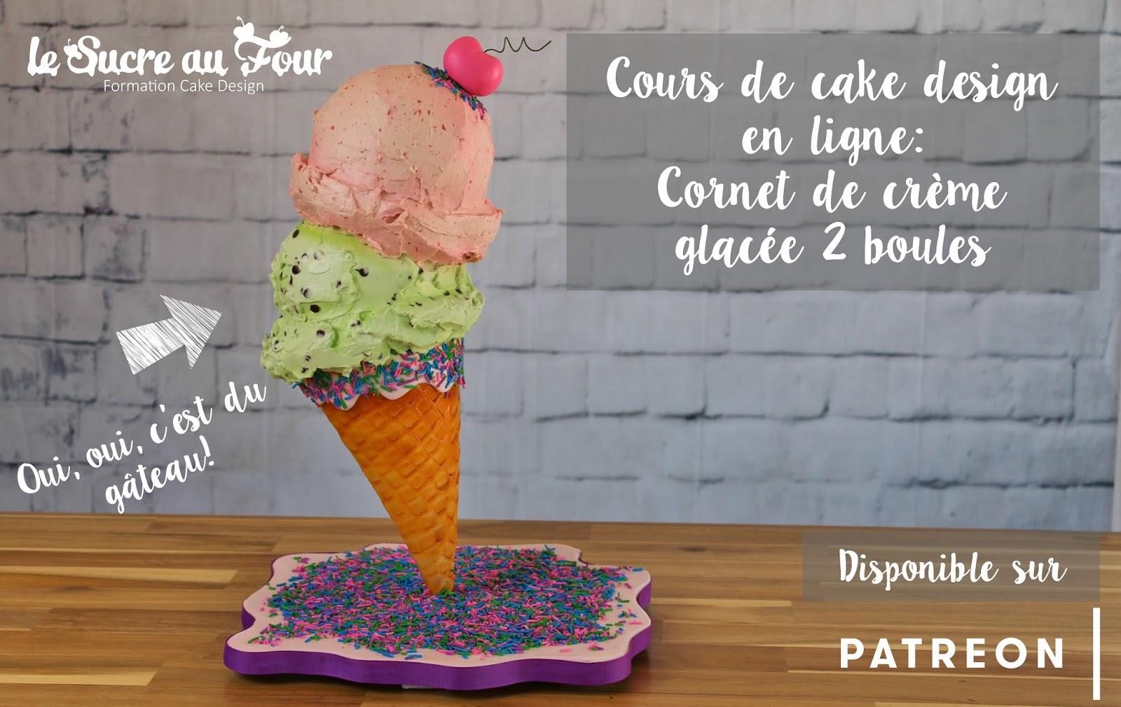 cours de cake design en ligne: Cornet de crème glacée 2 boules