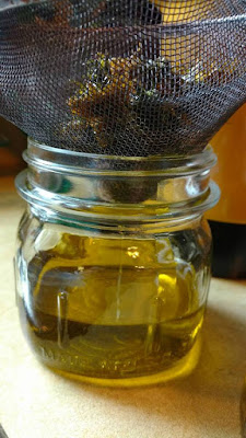 Straining the dandelion-infused oil