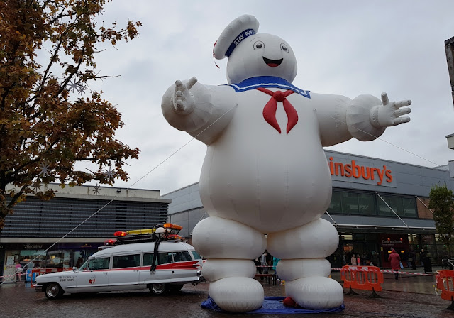 Ecto-1a and the Stay Puft Marshmallow Man at the Eden Square shopping centre in Urmston, Greater Manchester at Halloween in 2019
