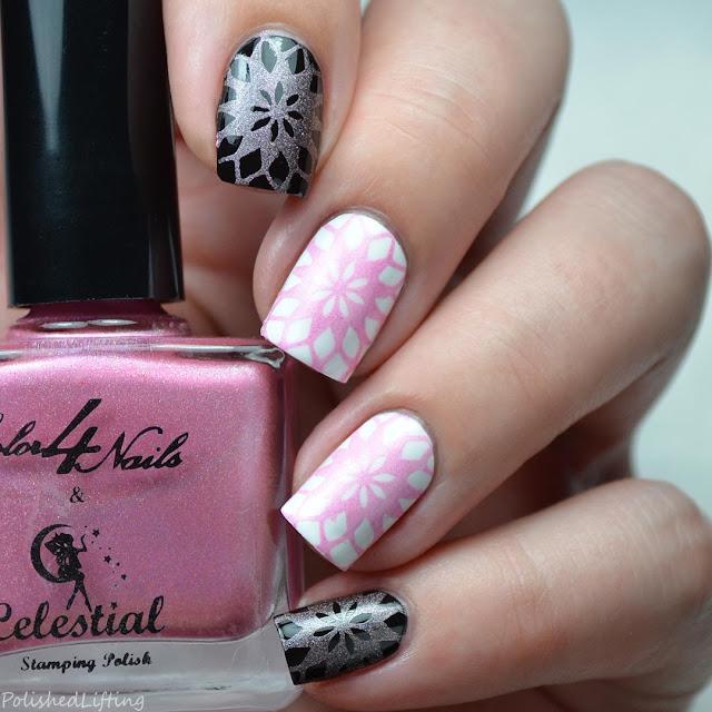 pink stamping polish